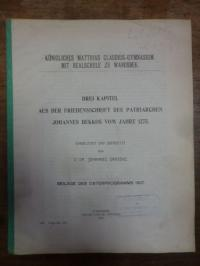Johannes, Drei Kapitel aus der Friedensschrift des Patriarchen Johannes Bekkos v