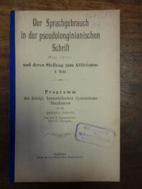 Tröger, Der Sprachgebrauch in der pseudolonginianischen Schrift Peri hypsus und