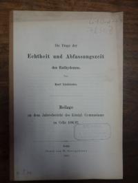 Lüddecke, Die Frage der Echtheit und Abfassungszeit des Euthydemus,